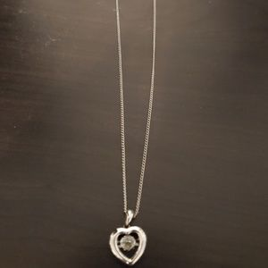 """Heart-Shaped Necklace with """"floating"""" CZ"""